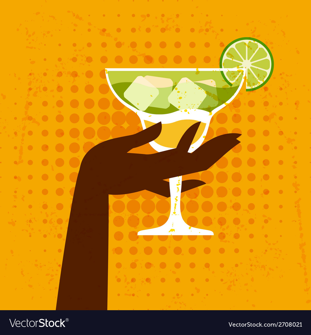 With glass of margarita and hand vector | Price: 1 Credit (USD $1)