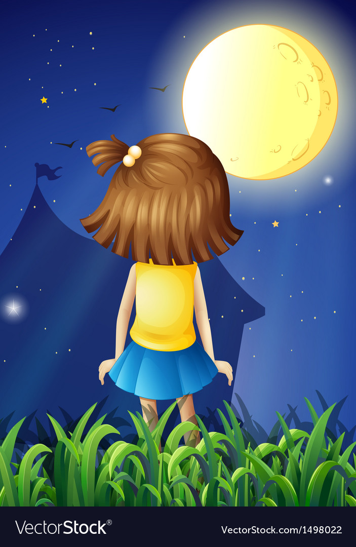 A little girl facing the bright fullmoon vector | Price: 1 Credit (USD $1)