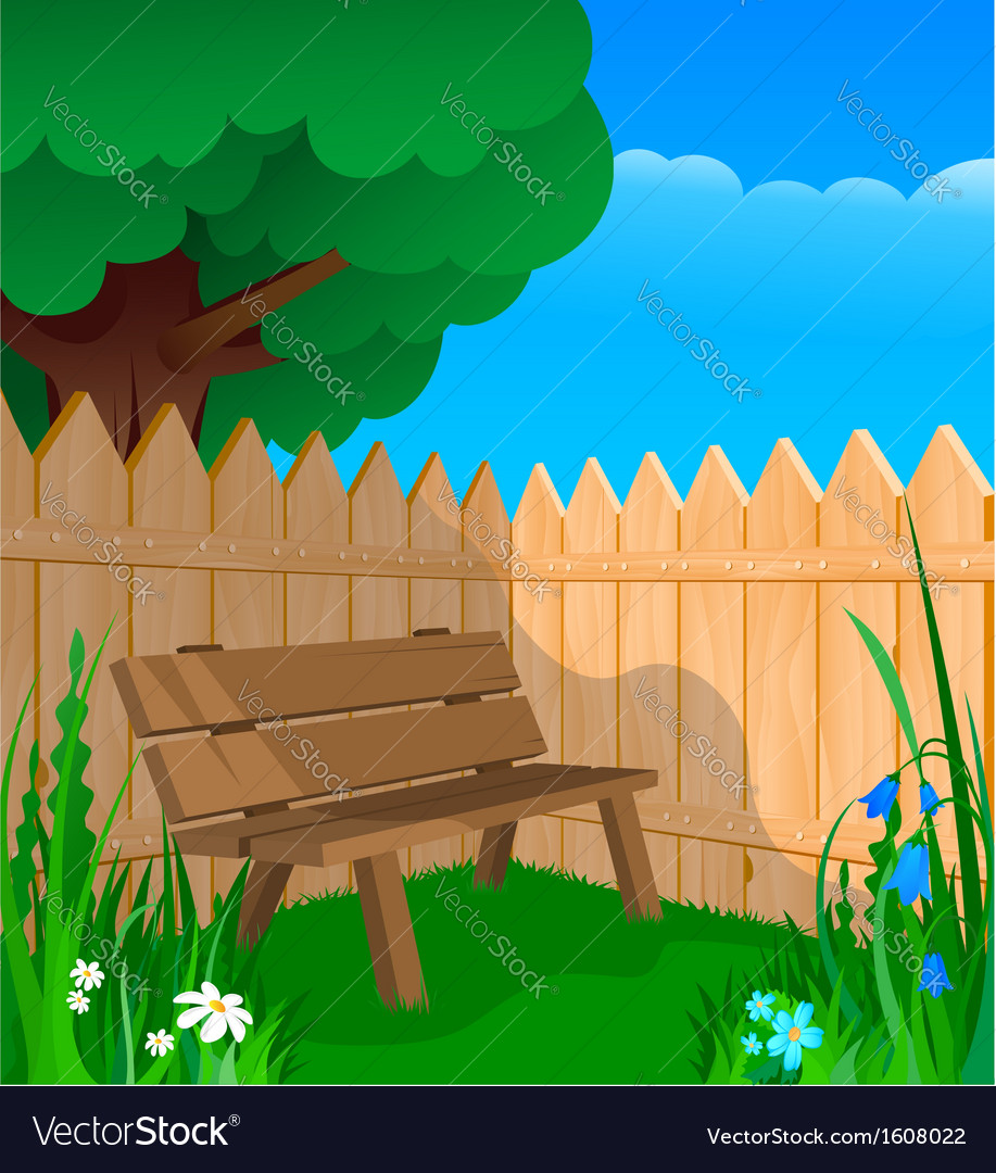 Bench fence and flowers vector | Price: 1 Credit (USD $1)