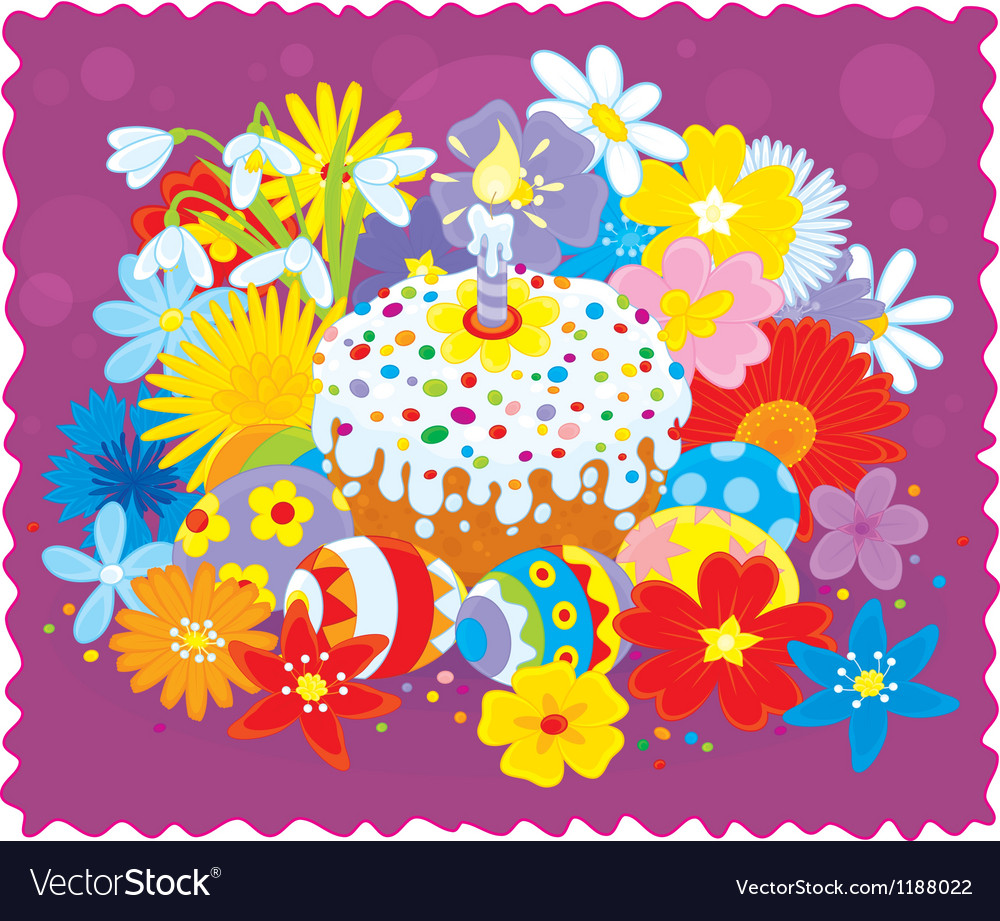 Easter cake eggs and flowers vector | Price: 1 Credit (USD $1)