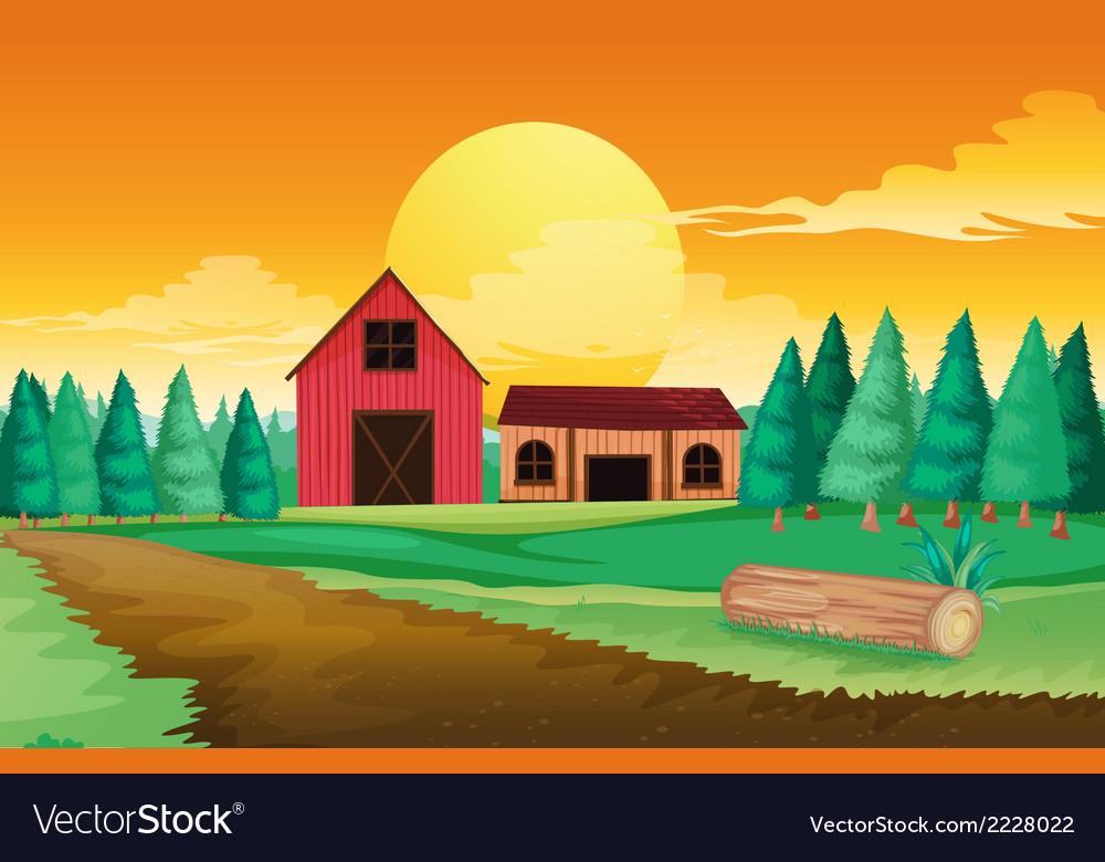 Farm houses near the pine trees vector | Price: 1 Credit (USD $1)