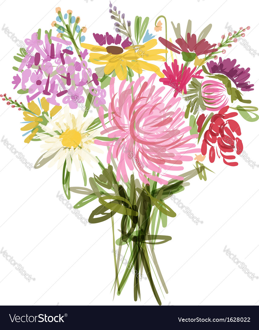Floral summer bouquet for your design vector | Price: 1 Credit (USD $1)