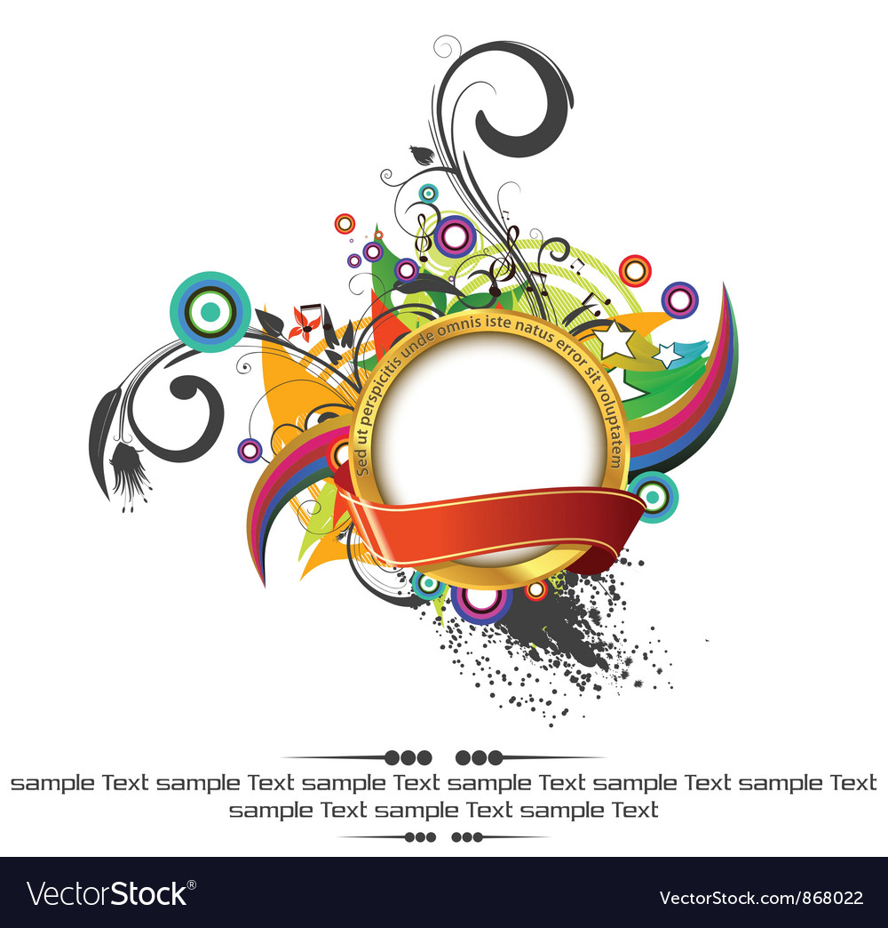 Gold label with floral vector   Price: 1 Credit (USD $1)