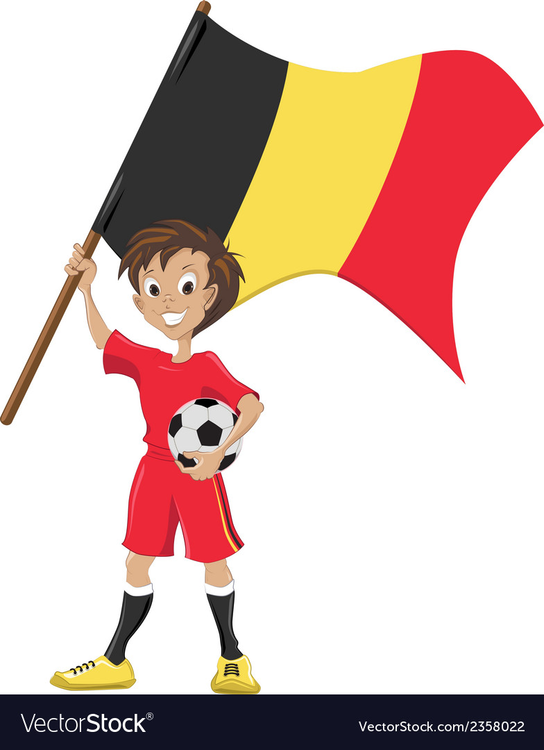 Happy soccer fan holds belgium flag vector | Price: 1 Credit (USD $1)