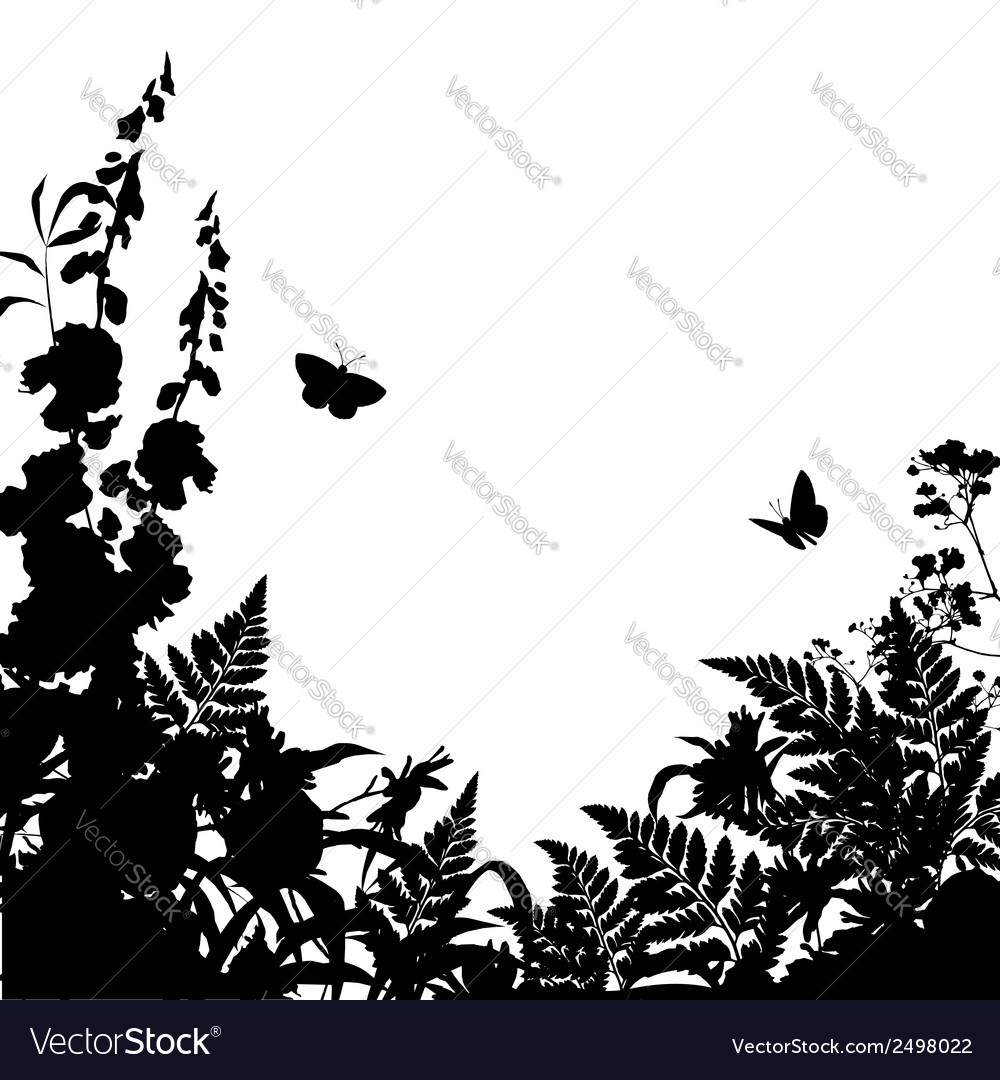 Herbs flowers silhouette background vector | Price: 1 Credit (USD $1)