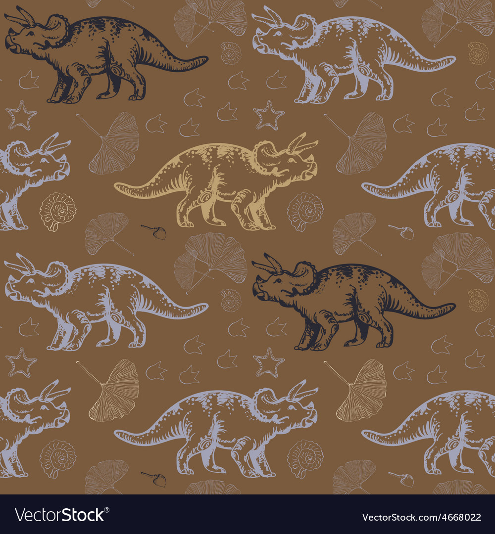 Jurassic triceratops seamless pattern vector | Price: 1 Credit (USD $1)