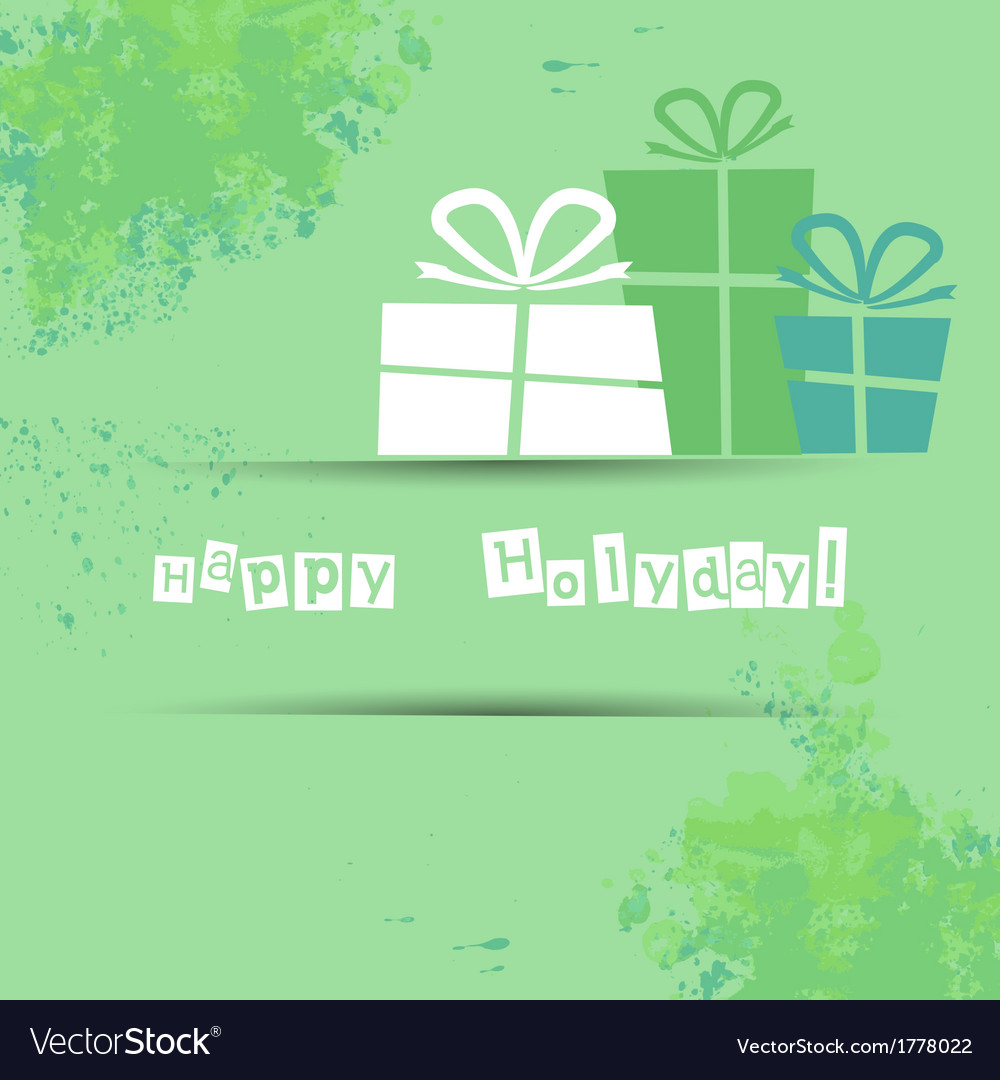Postcard with gifts and good wishes for a happy vector | Price: 1 Credit (USD $1)