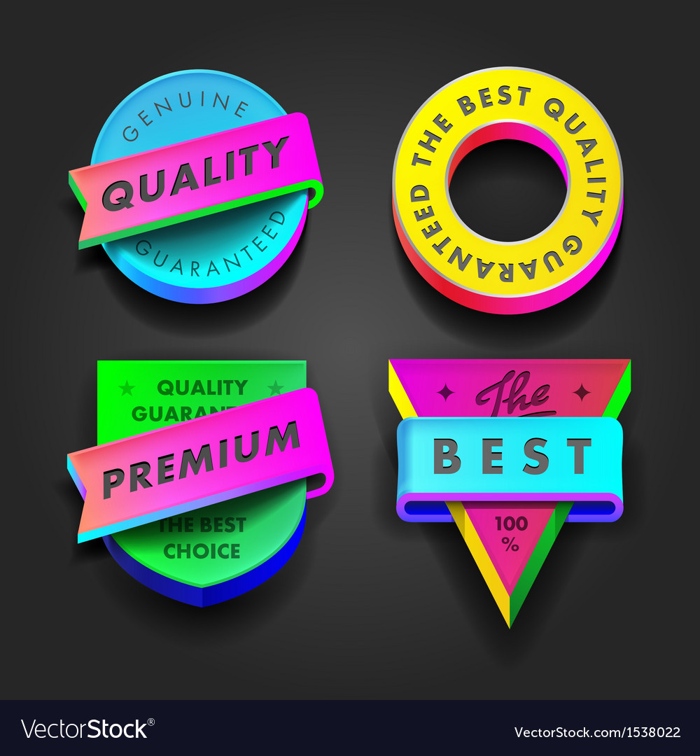 Premium quality and guarantee multicolored labels vector | Price: 1 Credit (USD $1)