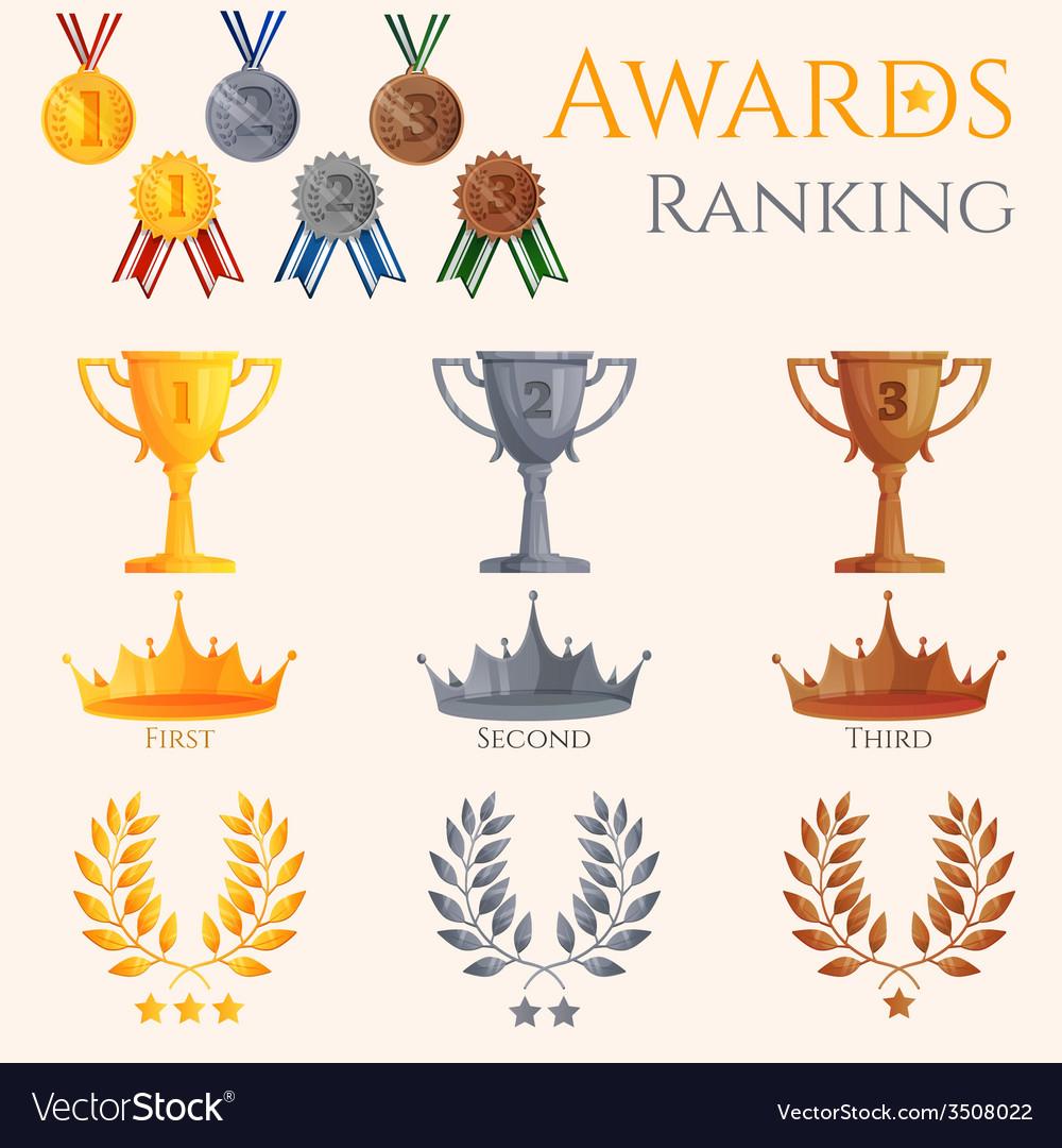 Ranking icons set vector | Price: 1 Credit (USD $1)