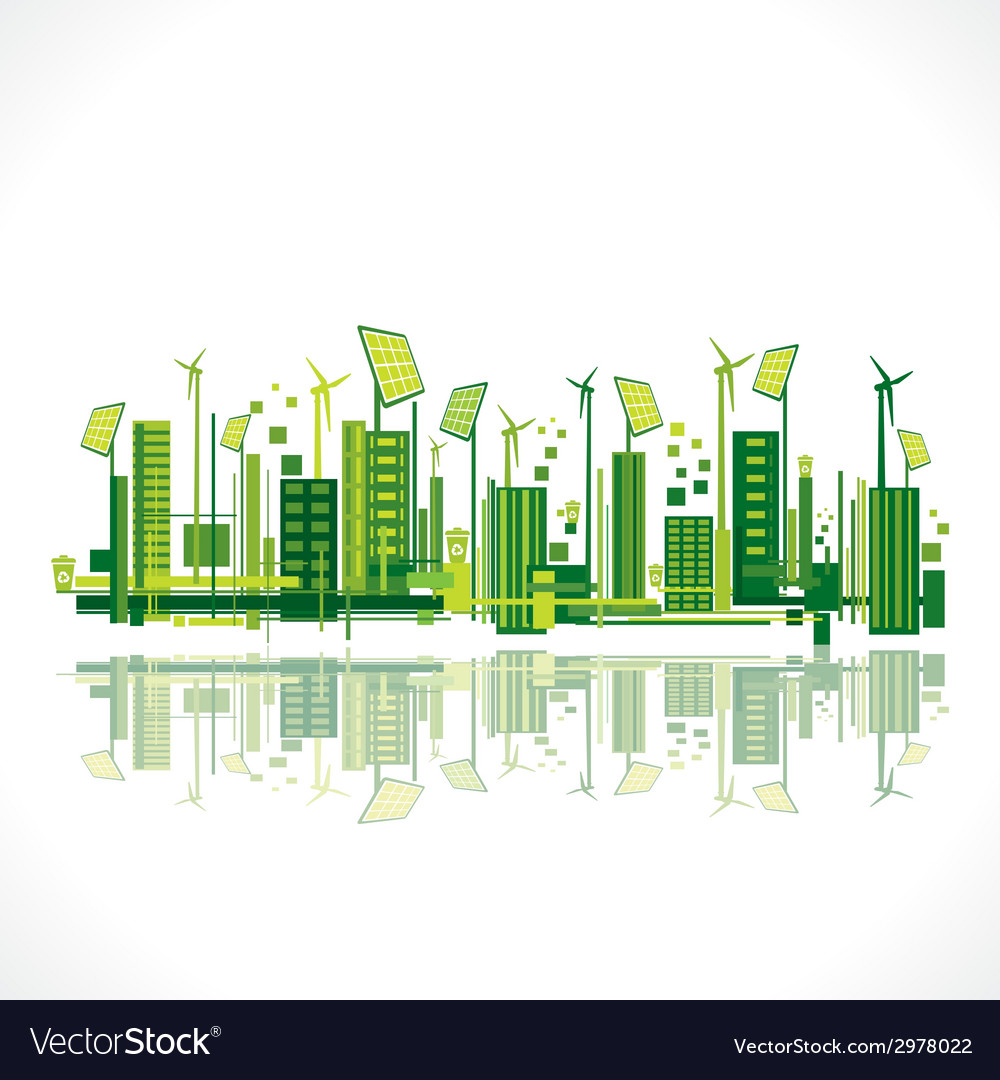 Save earth or green city reflection design concept vector | Price: 1 Credit (USD $1)