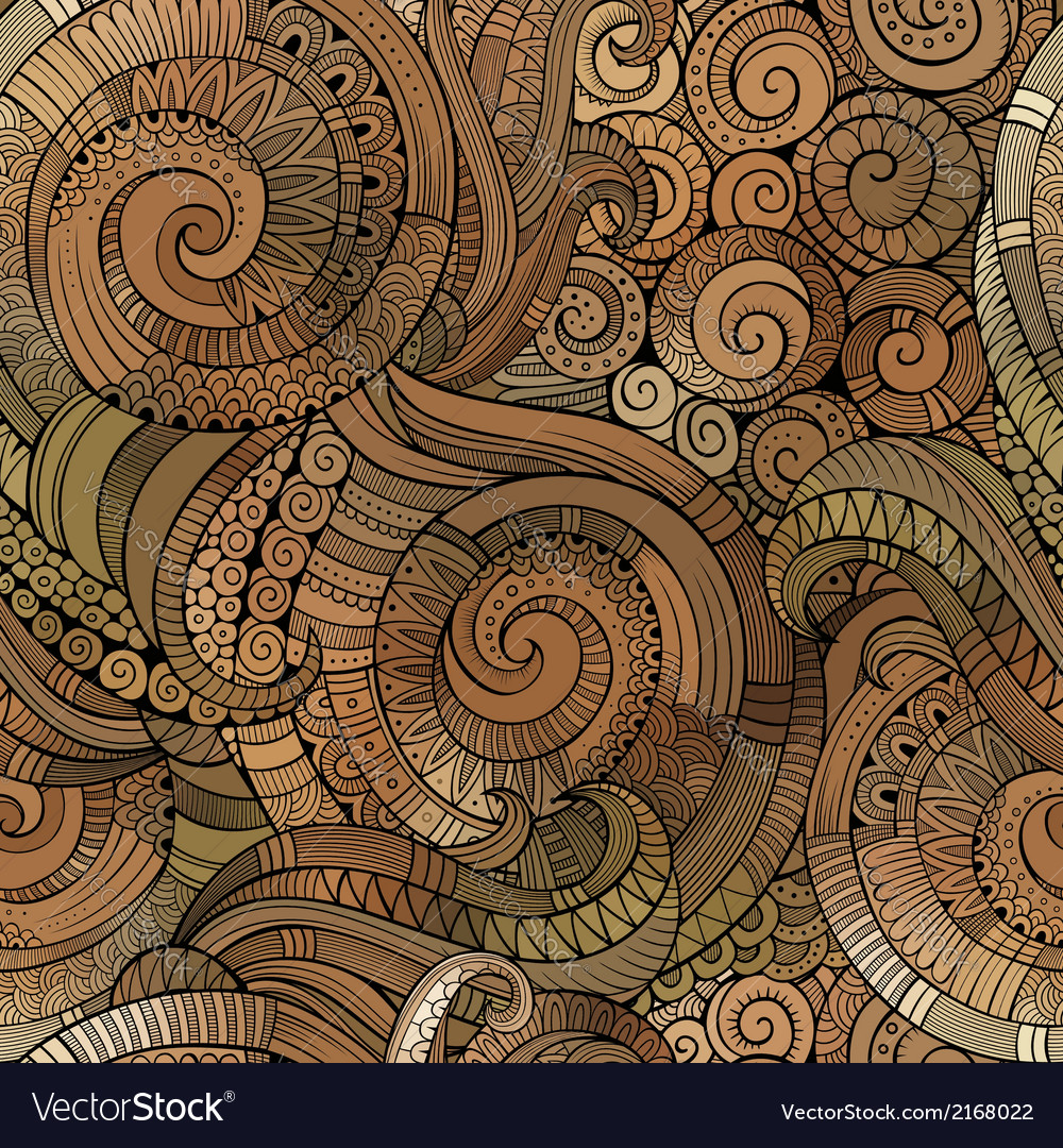 Spiral decorative doodles seamless pattern vector | Price: 1 Credit (USD $1)