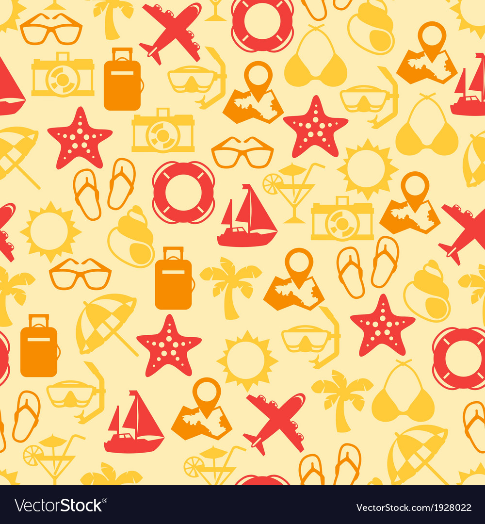 Travel and tourism seamless pattern vector | Price: 1 Credit (USD $1)