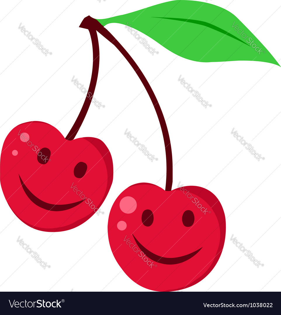 Two red cherrys vector | Price: 1 Credit (USD $1)