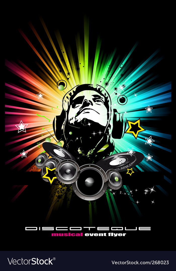 Alternative discotheque dj music flyer vector | Price: 1 Credit (USD $1)