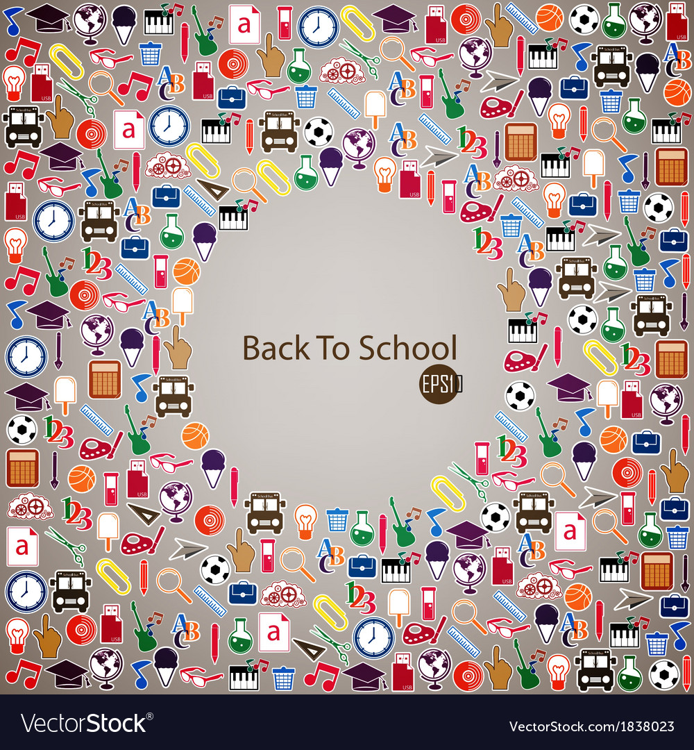 Back to school seamless children background vector | Price: 1 Credit (USD $1)