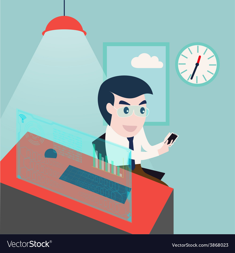 Businessman using smartphone and computer desktop vector | Price: 1 Credit (USD $1)