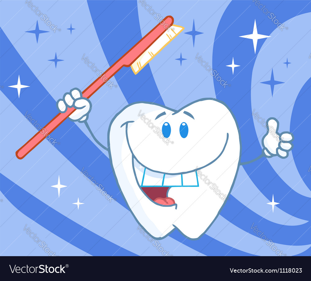 Cartoon smiling tooth with toothbrush vector | Price: 1 Credit (USD $1)