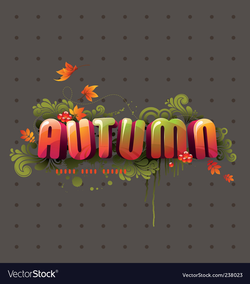 Colorful 3d autumn headline vector | Price: 1 Credit (USD $1)