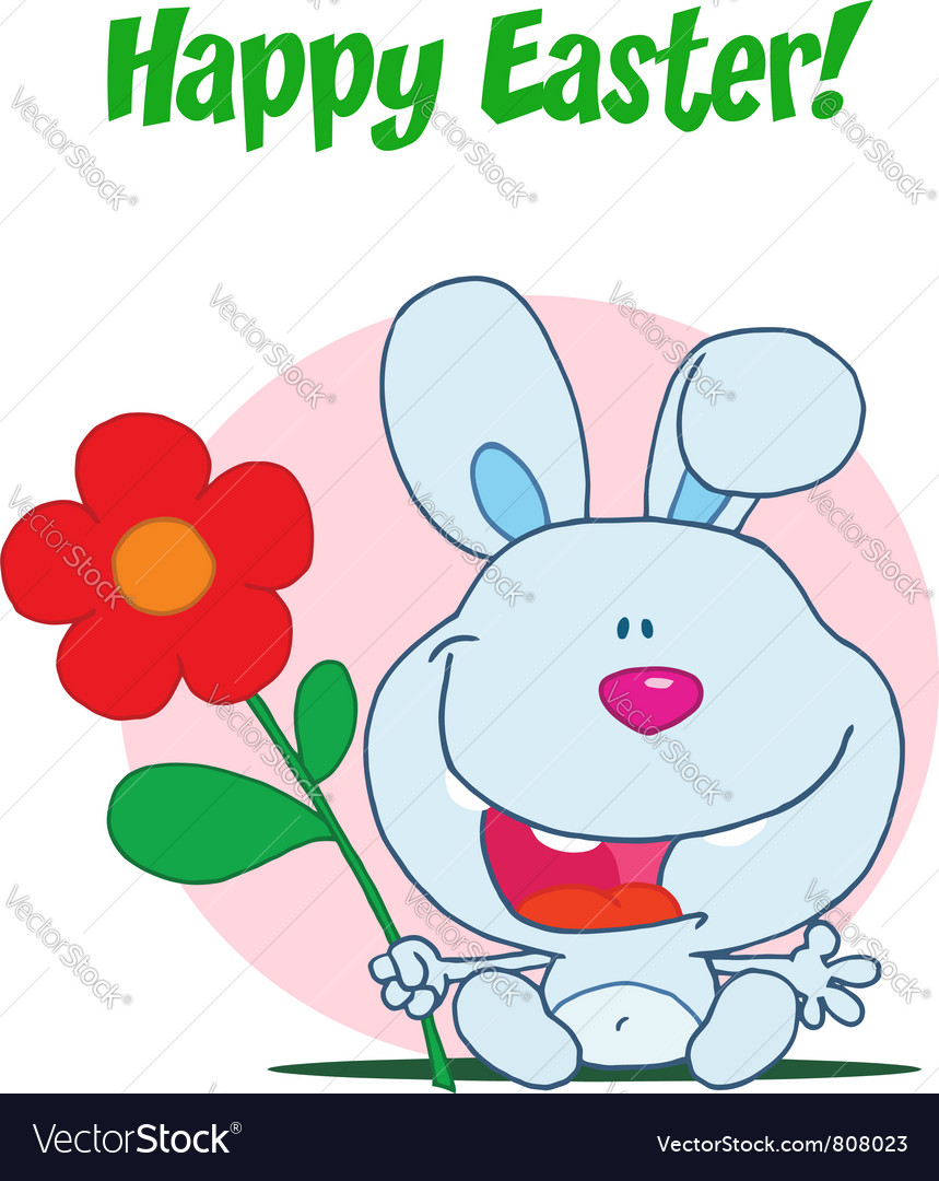 Happy easter greeting over sitting blue bunny vector | Price: 1 Credit (USD $1)