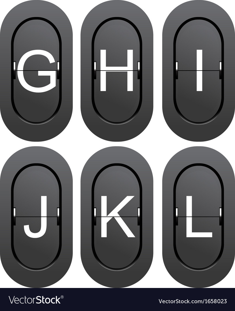 Letter series g to l from mechanical scoreboard vector | Price: 1 Credit (USD $1)