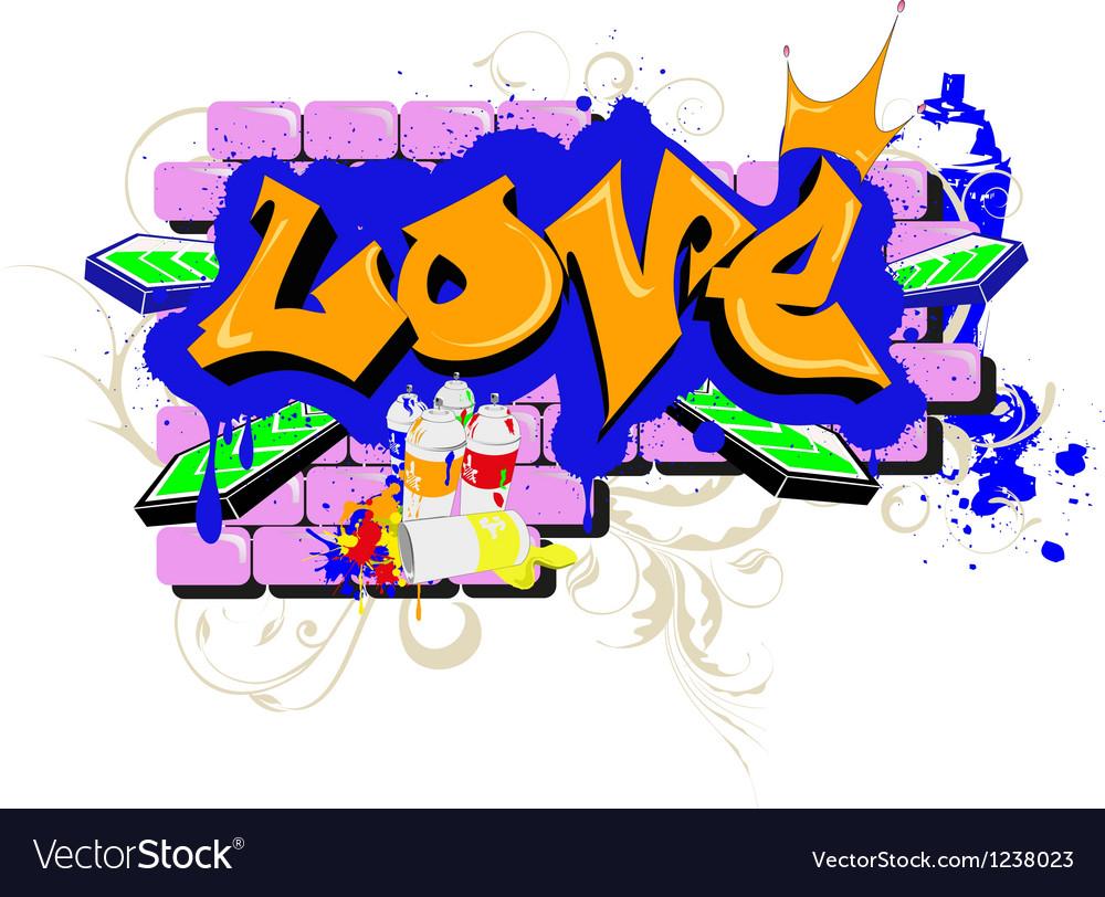 Love graffiti vector | Price: 1 Credit (USD $1)