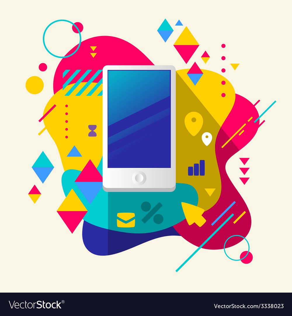 Mobile phone on abstract colorful spotted vector | Price: 3 Credit (USD $3)