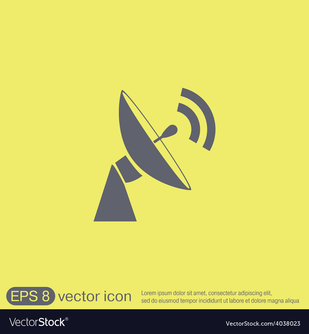 Satellite dish icon radar sign antenna symbol vector | Price: 1 Credit (USD $1)