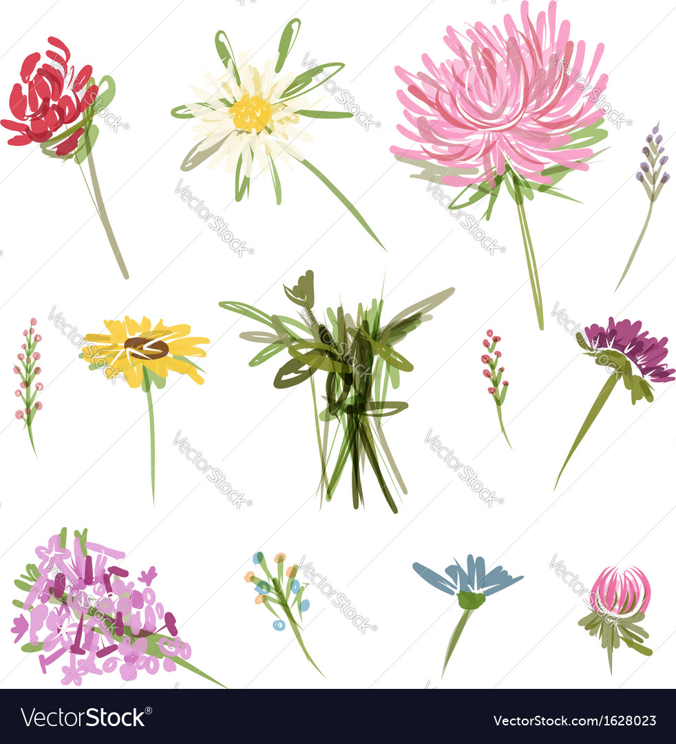Set of garden flowers sketch for your design vector | Price: 1 Credit (USD $1)