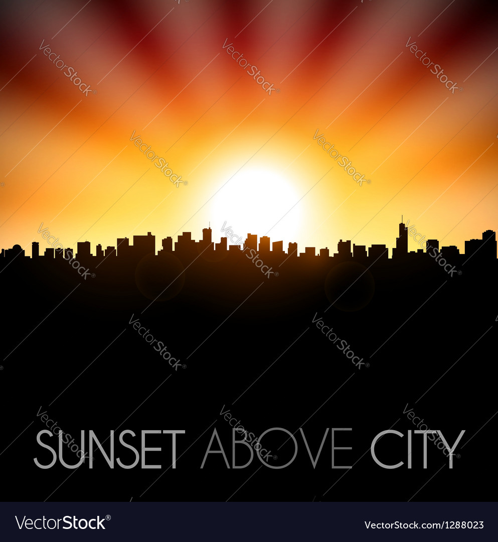 Sunset above city silhouette vector | Price: 1 Credit (USD $1)