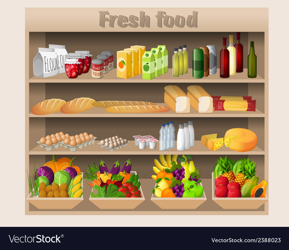 Supermarket shelves food and drinks vector | Price: 1 Credit (USD $1)