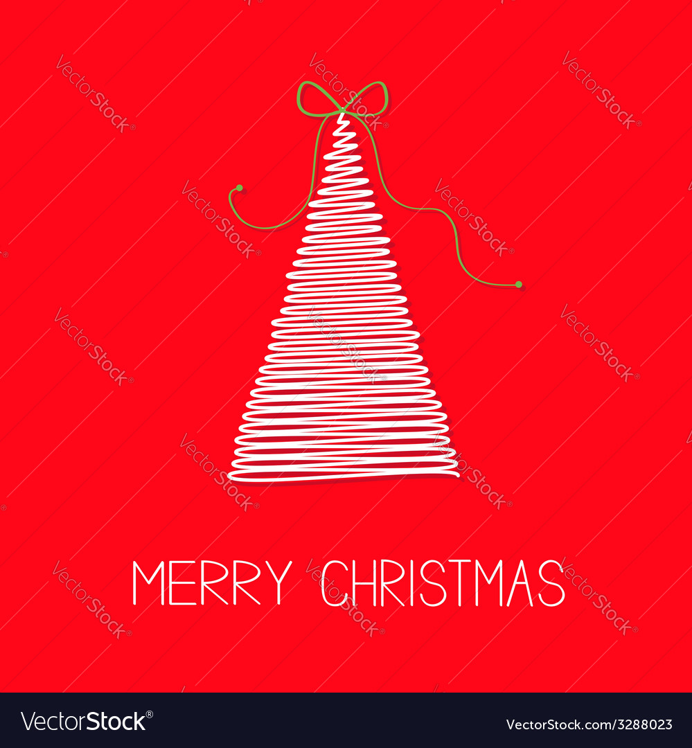 White fir christmas tree with bow scribble effect vector | Price: 1 Credit (USD $1)