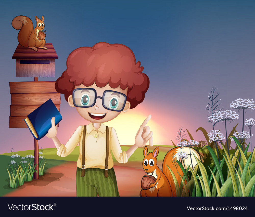 A boy with a book at the hill with two squirrels vector   Price: 1 Credit (USD $1)