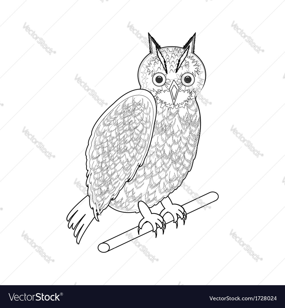 A monochrome sketch of an owl vector | Price: 1 Credit (USD $1)