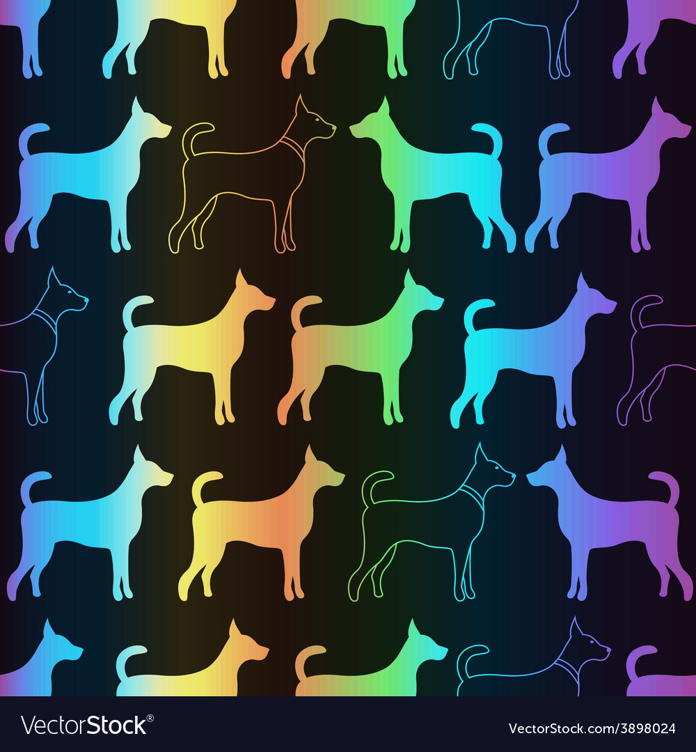 Bright spectrum seamless pattern of dog vector | Price: 1 Credit (USD $1)