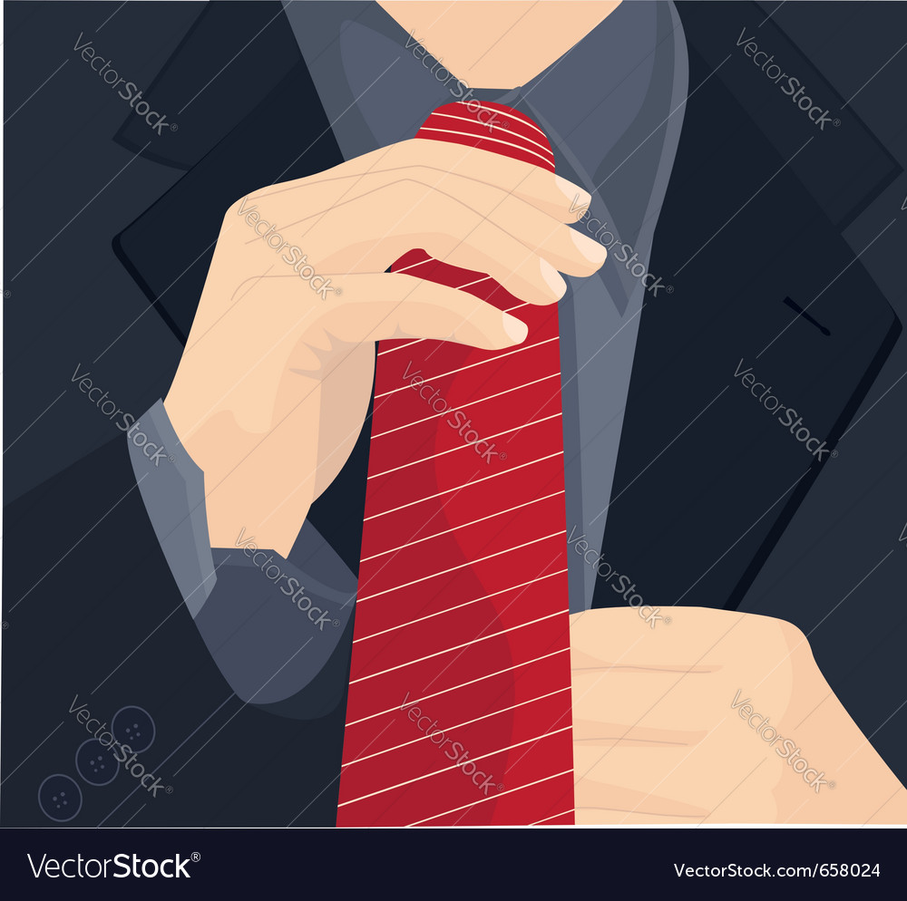 Businessman in a suit straightens his tie vector | Price: 1 Credit (USD $1)