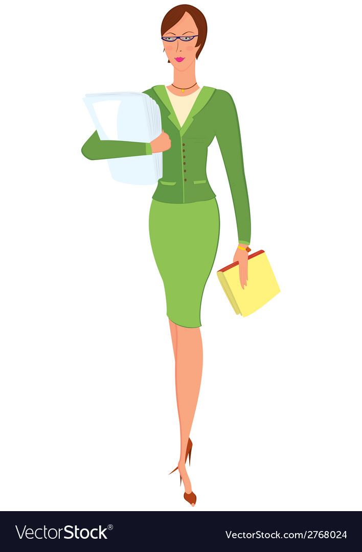 Cartoon woman in green suit holding papers vector | Price: 1 Credit (USD $1)