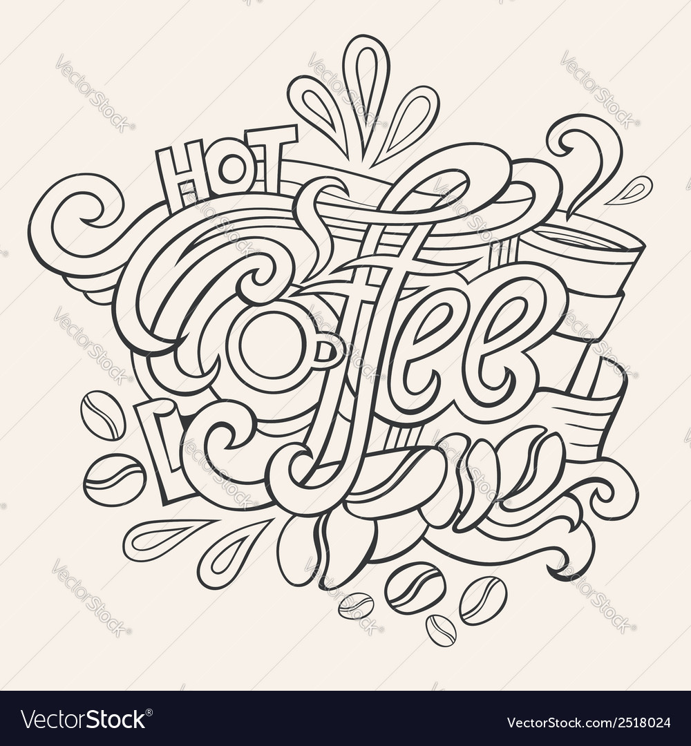 Coffee hand lettering sketch vector | Price: 1 Credit (USD $1)