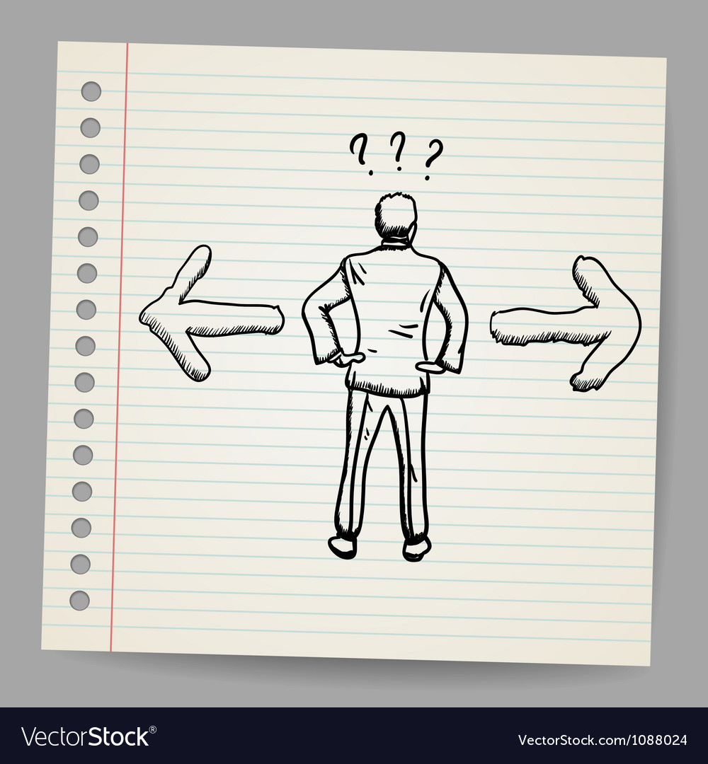 Doodle businessman standing in front of two arrows vector | Price: 1 Credit (USD $1)
