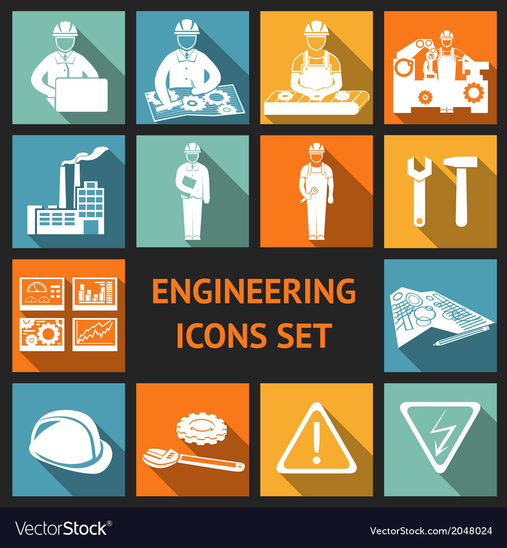 Flat engineering icons set vector | Price: 1 Credit (USD $1)