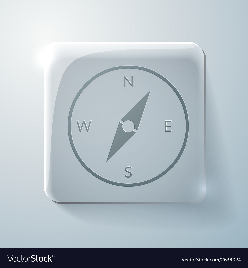 Glass square icon with highlights compass vector | Price: 1 Credit (USD $1)