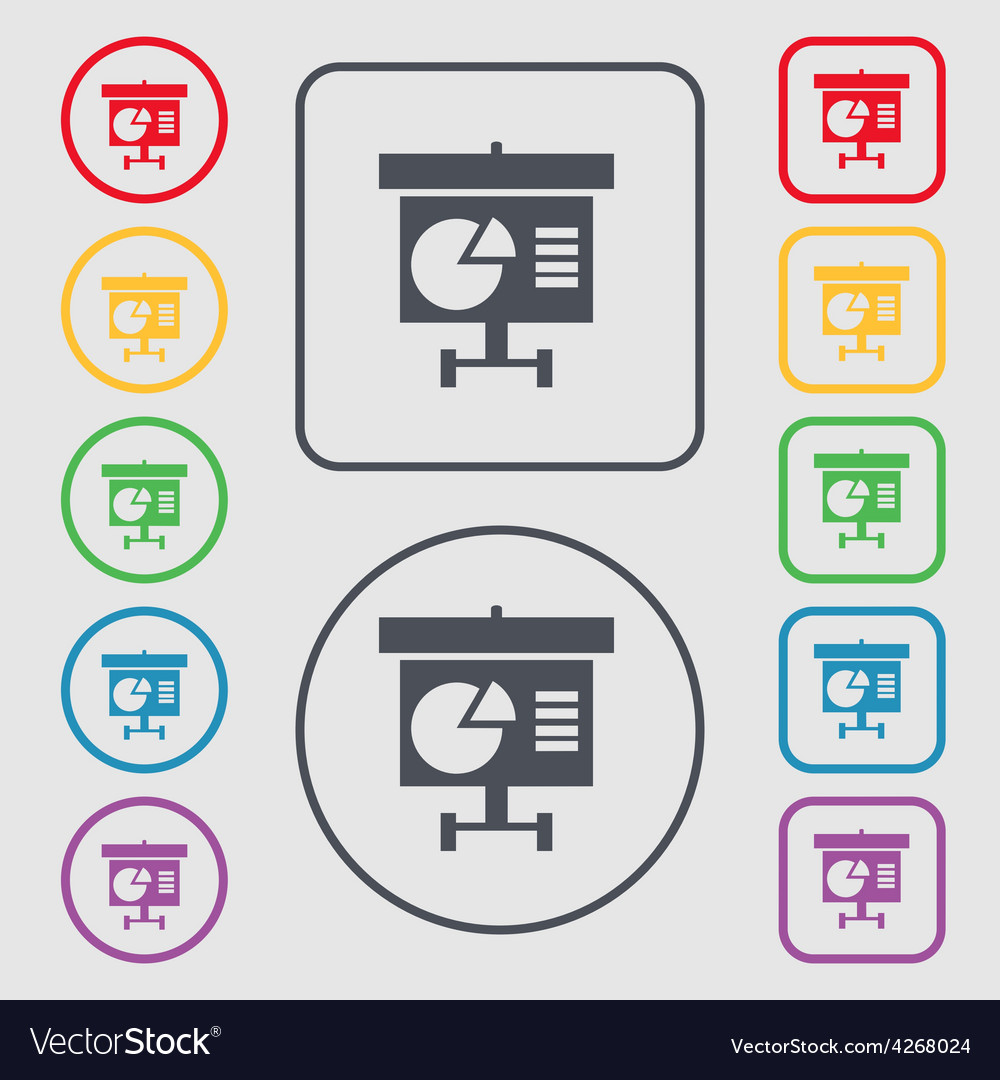 Graph icon sign symbol on the round and square vector | Price: 1 Credit (USD $1)