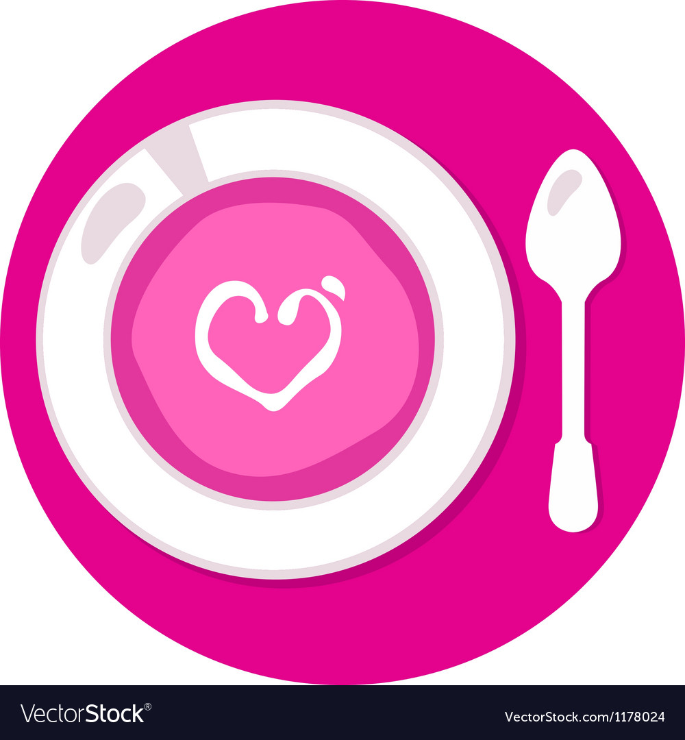 Pink valentines love soup in circle vector | Price: 1 Credit (USD $1)