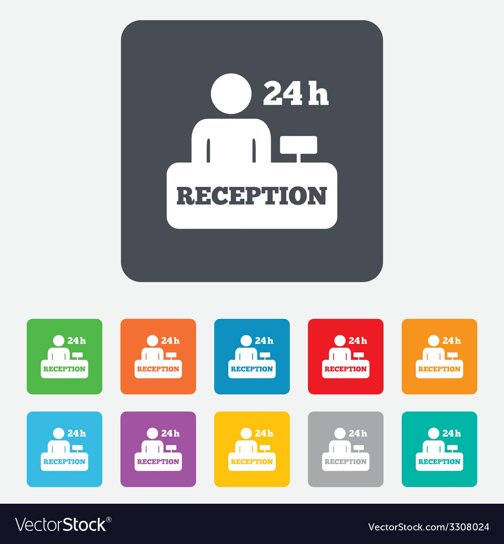 Reception sign icon hotel registration table vector   Price: 1 Credit (USD $1)