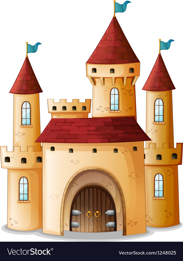 A castle with three blue flags vector | Price: 1 Credit (USD $1)