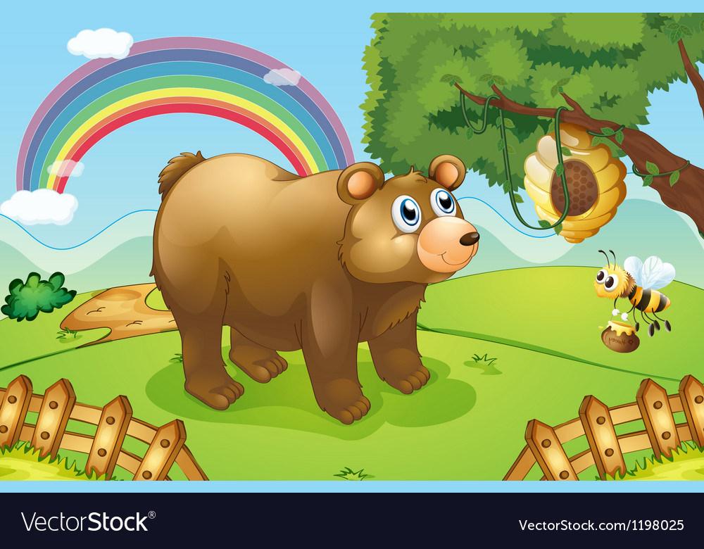 A hungry bear watching the beehive vector | Price: 1 Credit (USD $1)