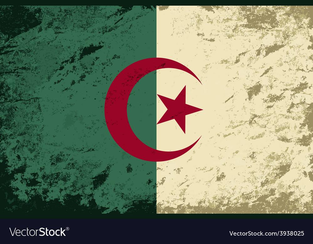 Algerian flag grunge background vector | Price: 1 Credit (USD $1)