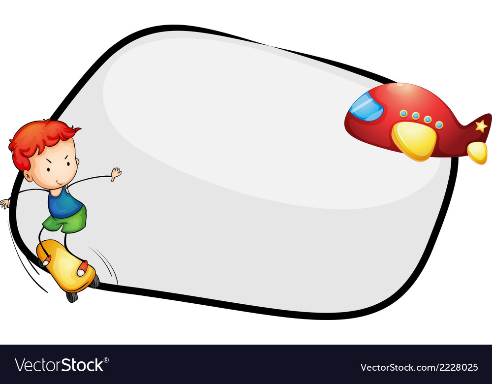 An empty template with an airplane and a young boy vector | Price: 1 Credit (USD $1)
