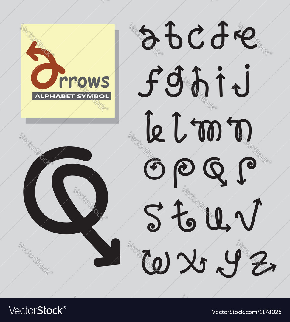Arrows alphabet symbol vector | Price: 1 Credit (USD $1)