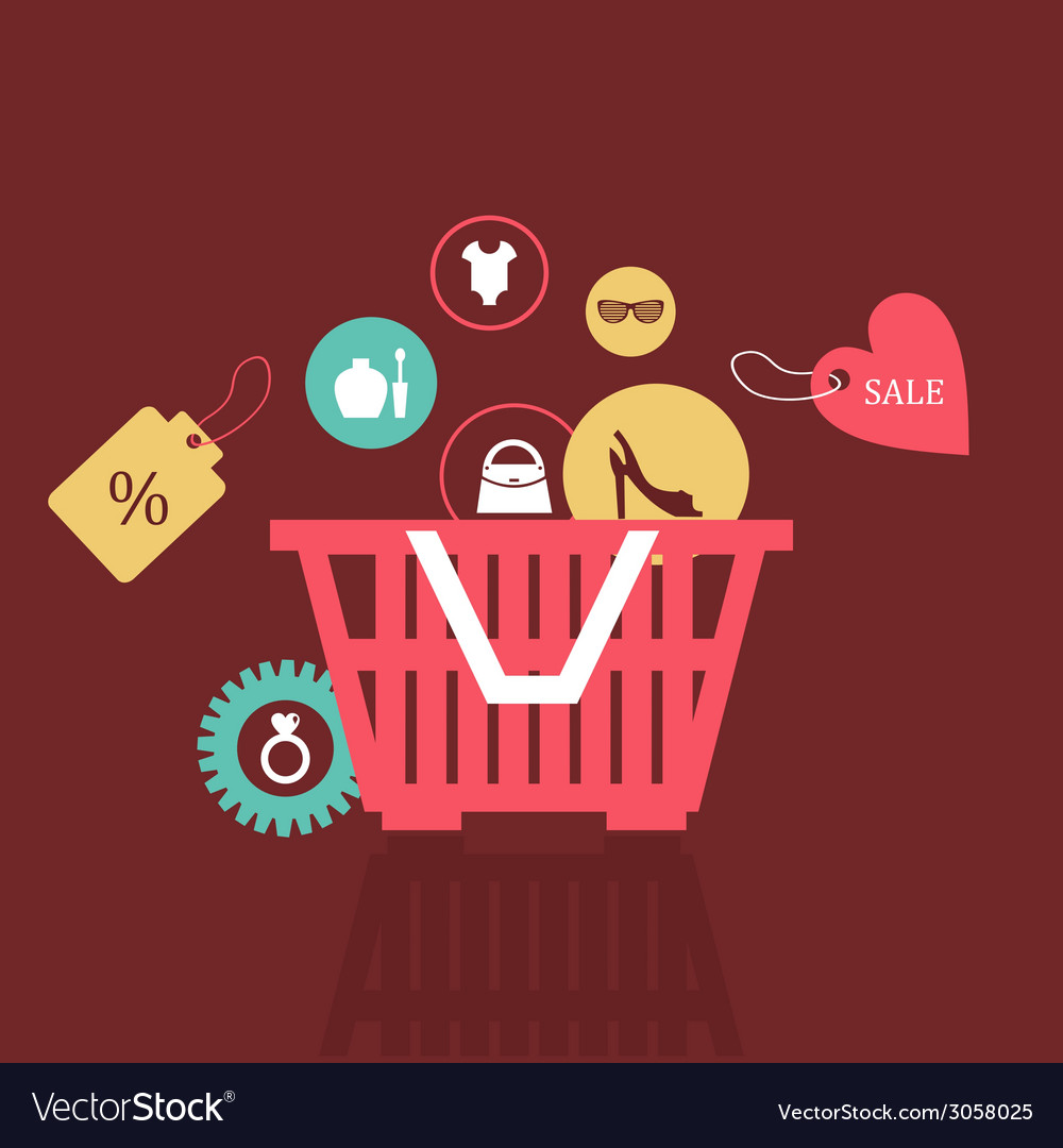 Basket of goods vector | Price: 1 Credit (USD $1)