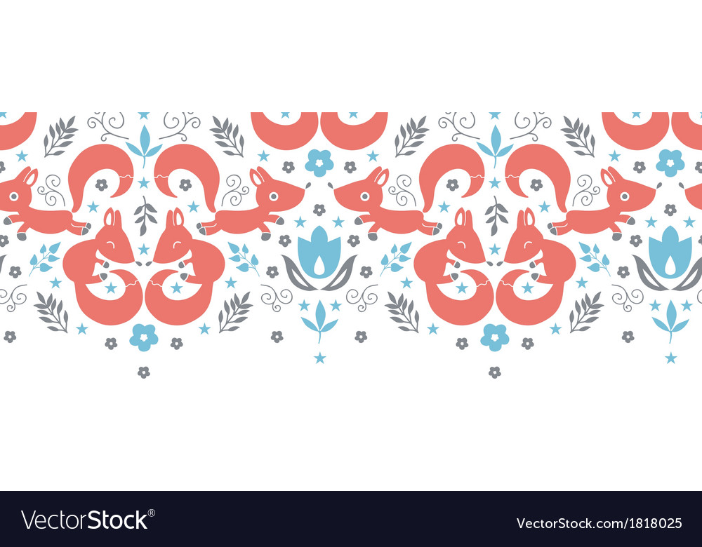 Cute foxes horizontal seamless pattern background vector   Price: 1 Credit (USD $1)